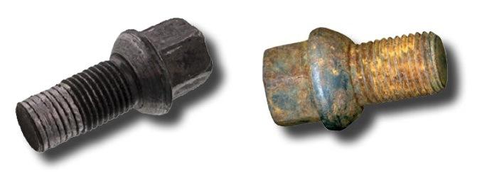 zkorodované a poškozené šrouby kol