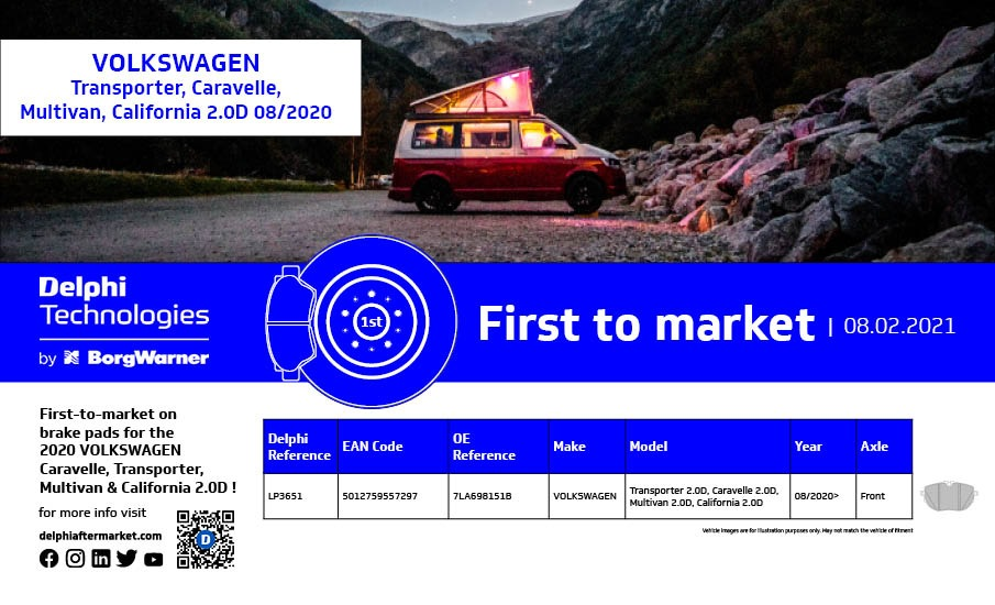 Delphi first to market pro vozy Volkswagen Caravelle, Transporter