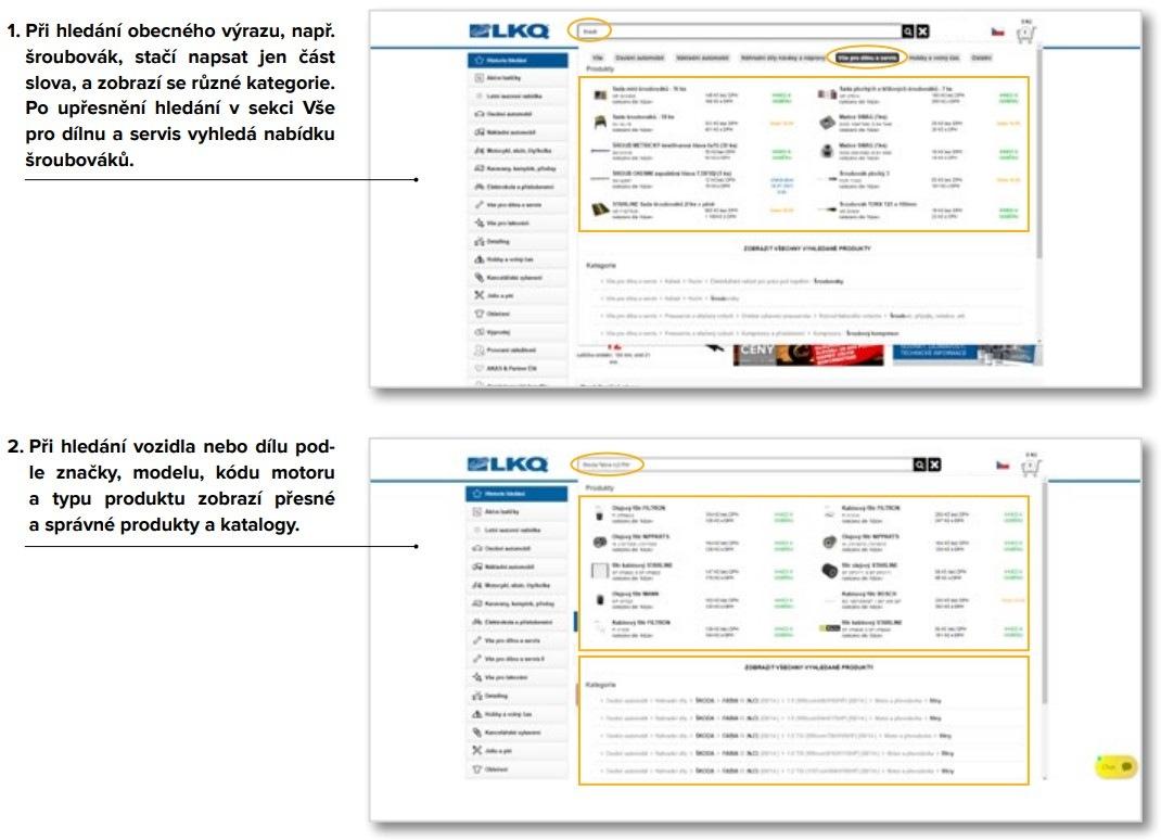 vyhledávání na e-shopu LKQ CZ