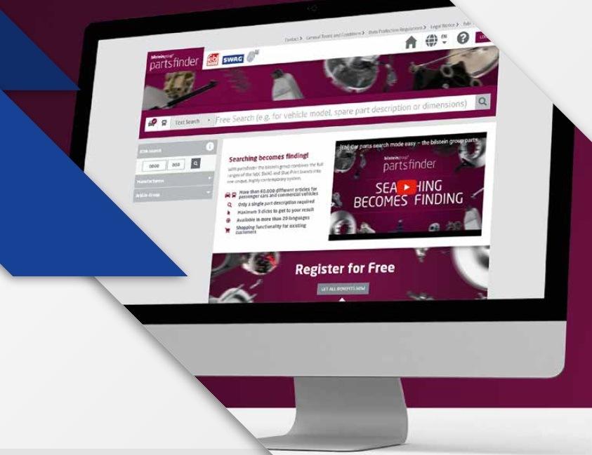 bilstein partsfinder, bezplatný moderní online vyhledávač
